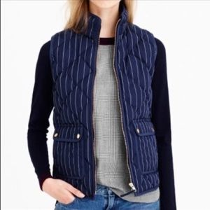 J.Crew Navy pinstriped Excursion quilted vest